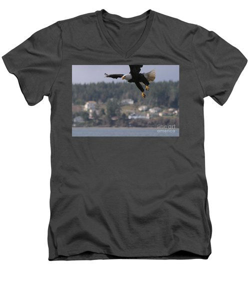 Men's V-Neck T-Shirt featuring the photograph I'm Coming In For A Landing by Kym Backland