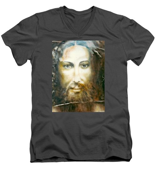 Men's V-Neck T-Shirt featuring the painting Image Of Christ by Henryk Gorecki
