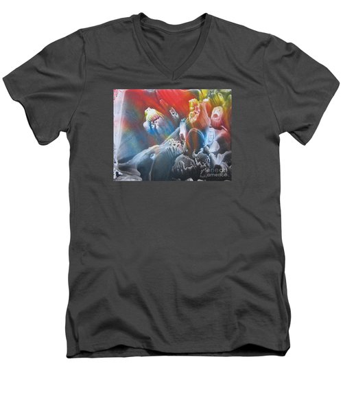 Men's V-Neck T-Shirt featuring the painting Imagination 1 by Vesna Martinjak