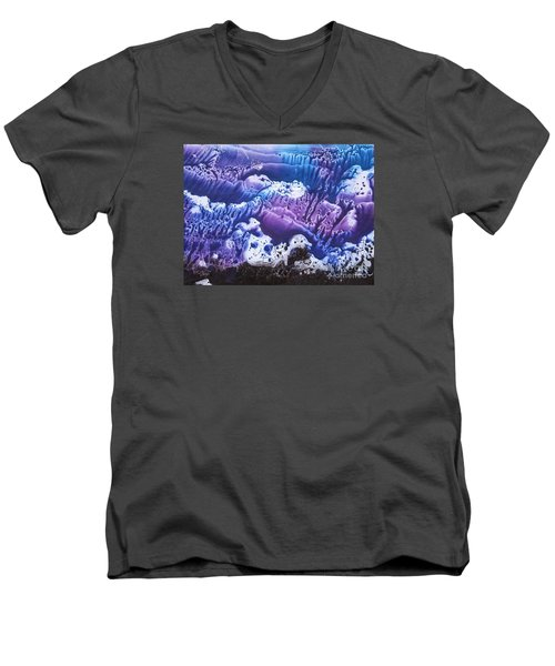 Men's V-Neck T-Shirt featuring the painting Imagination 3 by Vesna Martinjak
