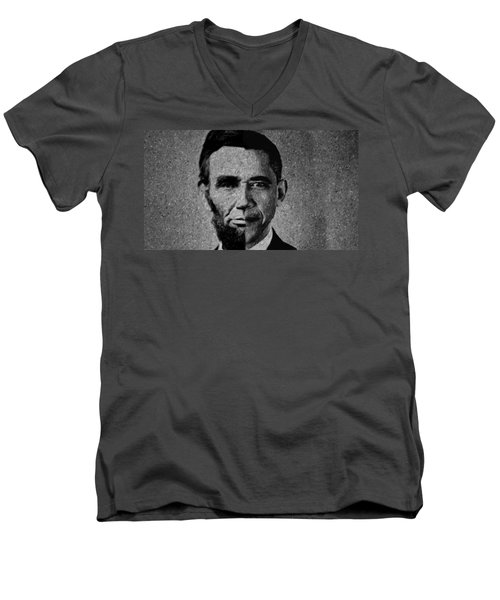 Impressionist Interpretation Of Lincoln Becoming Obama Men's V-Neck T-Shirt