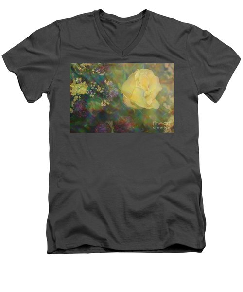 Men's V-Neck T-Shirt featuring the photograph Impressionistic Yellow Rose by Dora Sofia Caputo Photographic Art and Design