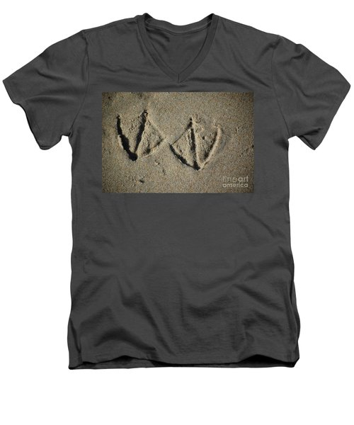 Men's V-Neck T-Shirt featuring the photograph Imprints by Christiane Hellner-OBrien