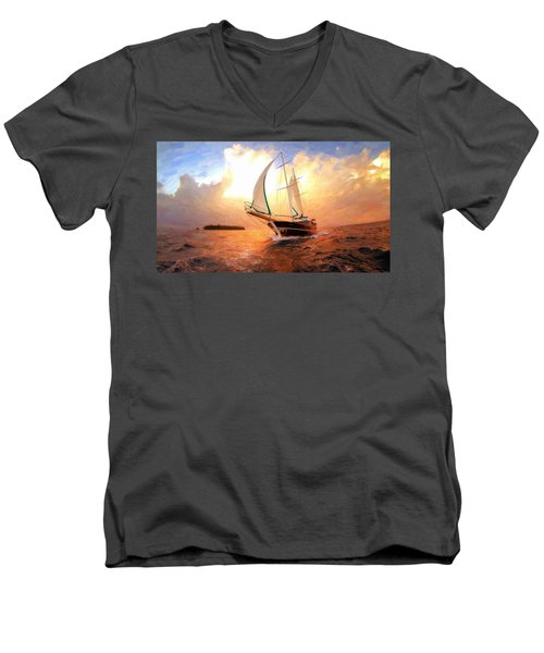In Full Sail - Oil Painting Edition Men's V-Neck T-Shirt
