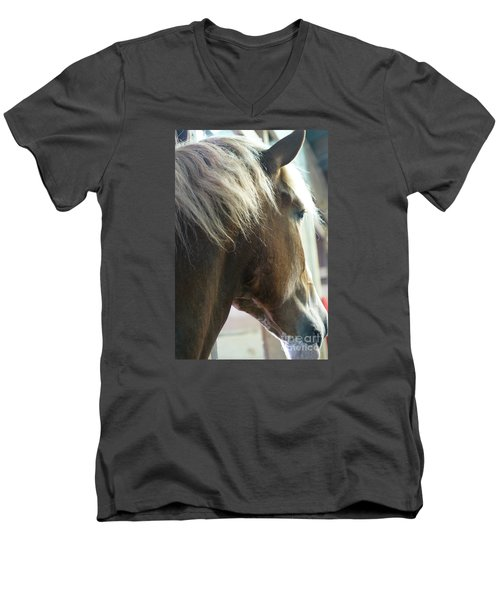 Men's V-Neck T-Shirt featuring the photograph In His Farthest Wanderings Still He Sees by Linda Shafer