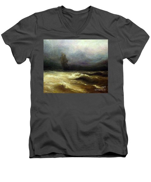 Men's V-Neck T-Shirt featuring the painting In Shadow by Mikhail Savchenko