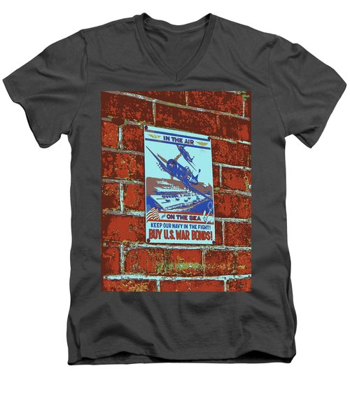 Men's V-Neck T-Shirt featuring the photograph In The Air And On The Sea Poster by Jean Goodwin Brooks