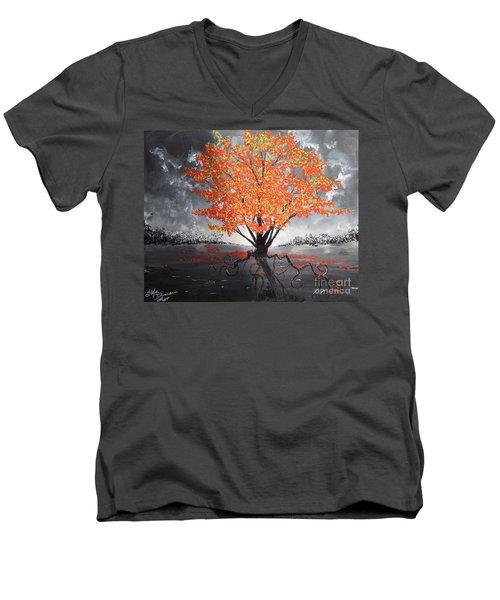 Blaze In The Twilight Men's V-Neck T-Shirt