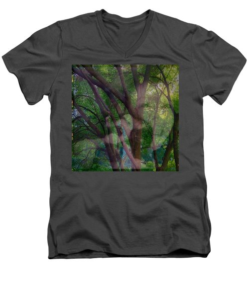 In The Forest Self-portrait With Ferret Men's V-Neck T-Shirt by Anna Porter
