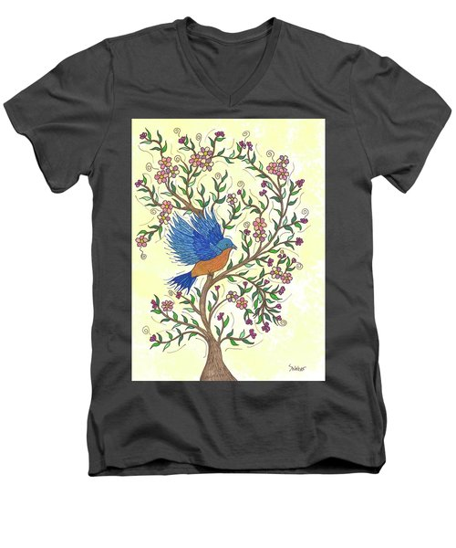 In The Garden - Bluebird Men's V-Neck T-Shirt by Susie WEBER