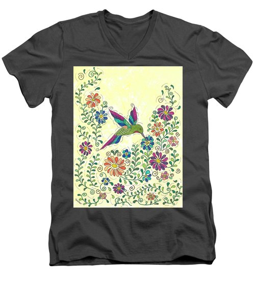 In The Garden - Hummer Men's V-Neck T-Shirt by Susie WEBER