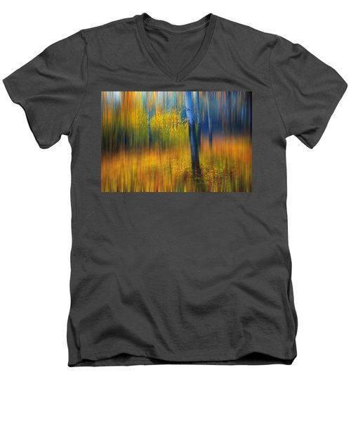 In The Golden Woods. Impressionism Men's V-Neck T-Shirt by Jenny Rainbow