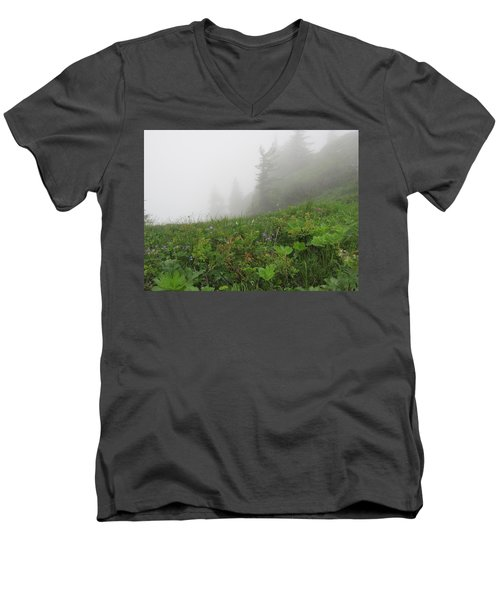 Men's V-Neck T-Shirt featuring the photograph In The Mist - 1 by Pema Hou