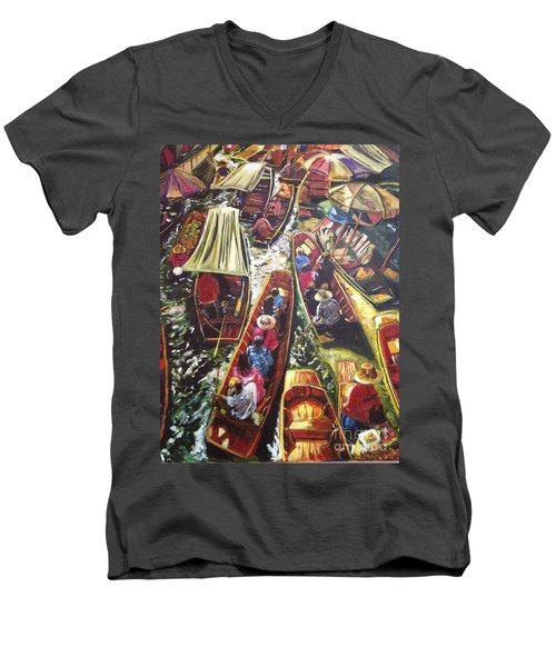 Men's V-Neck T-Shirt featuring the painting In The Same Boat by Belinda Low