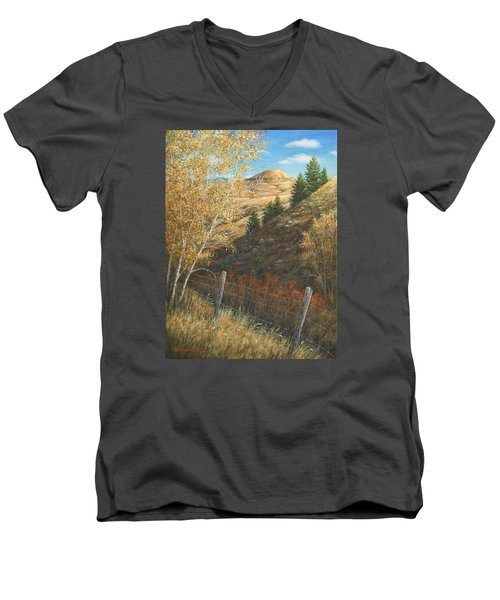 Men's V-Neck T-Shirt featuring the painting In The Shadow Of Belt Butte by Kim Lockman