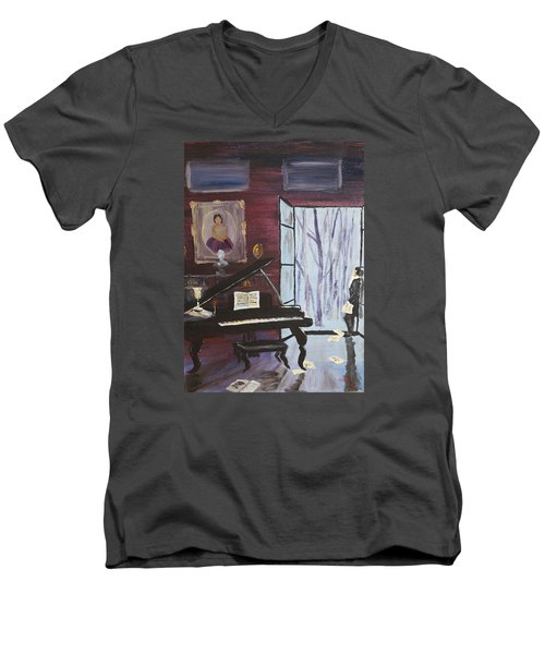 Men's V-Neck T-Shirt featuring the painting In The Still Of The Night by Alan Lakin