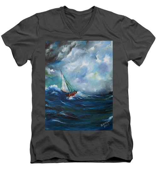 Men's V-Neck T-Shirt featuring the painting In The Storm by Dorothy Maier