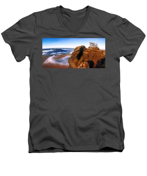 In The Sun Glowing Rock On The Lilienstein Men's V-Neck T-Shirt
