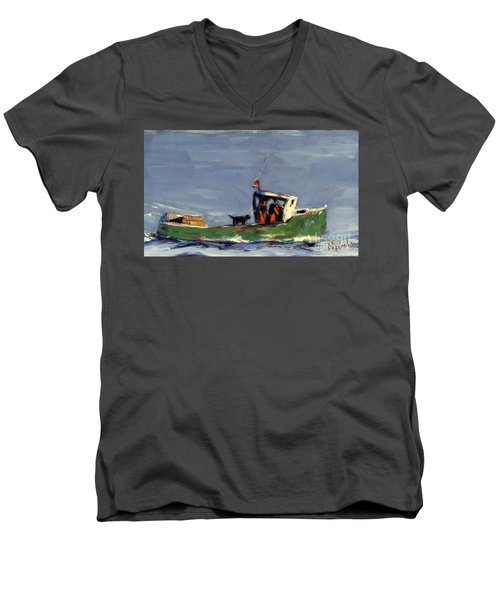 Men's V-Neck T-Shirt featuring the painting In Tow by Molly Poole