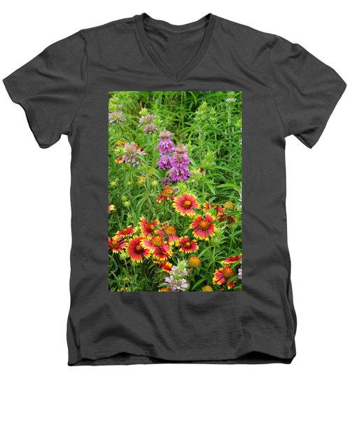 Indian Blankets And Lemon Horsemint Men's V-Neck T-Shirt