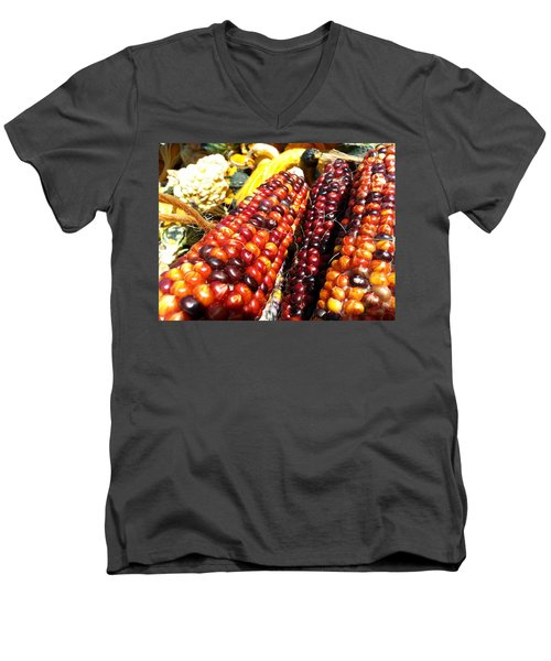 Men's V-Neck T-Shirt featuring the photograph Indian Corn by Caryl J Bohn
