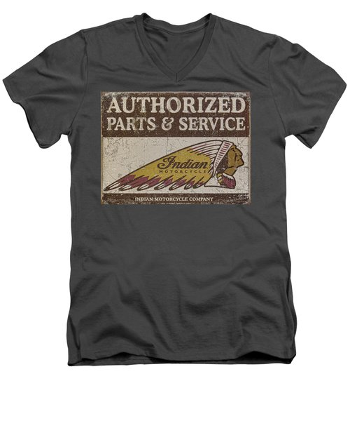 Indian Motorcycle Sign Men's V-Neck T-Shirt