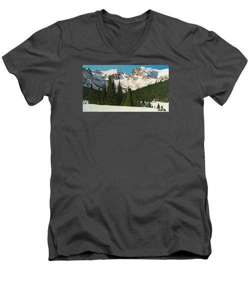 Indian Peaks Winter Men's V-Neck T-Shirt by Dan Miller