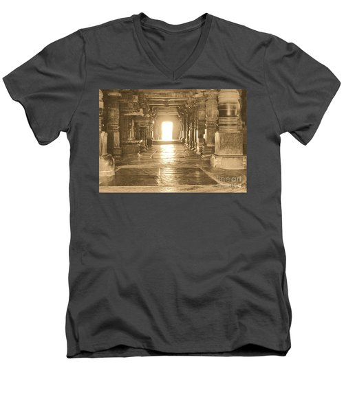 Men's V-Neck T-Shirt featuring the photograph Indian Temple by Mini Arora