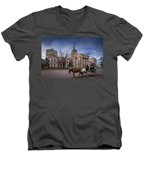 Indiana Capital Building - Front With Horse Passing Men's V-Neck T-Shirt