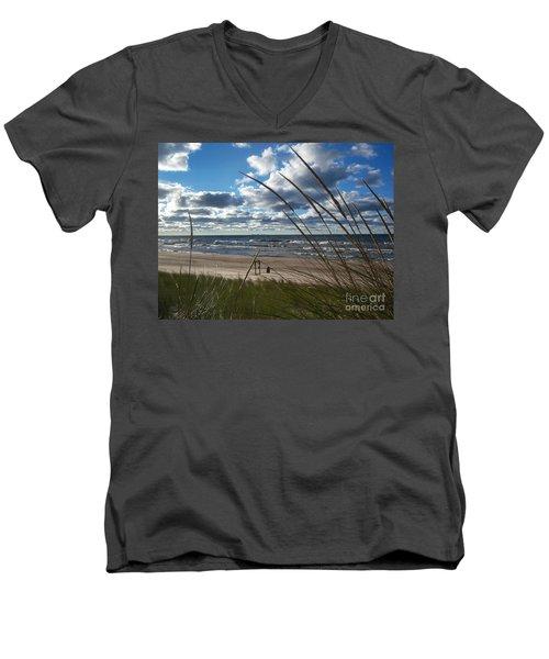 Indiana Dunes' Lake Michigan Men's V-Neck T-Shirt by Pamela Clements