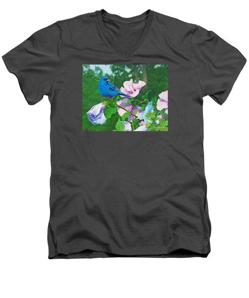 Indigo Bunting  Men's V-Neck T-Shirt by Ken Everett
