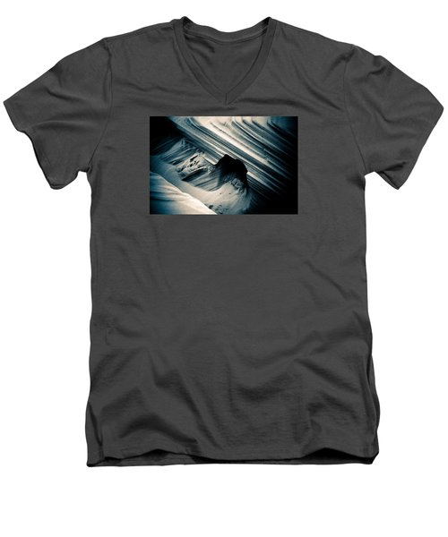 Men's V-Neck T-Shirt featuring the photograph Indigo Dunes by Adria Trail