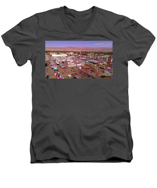 Men's V-Neck T-Shirt featuring the photograph Indio Fair Grounds by Chris Tarpening