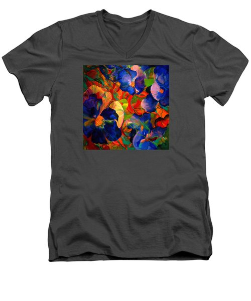 Men's V-Neck T-Shirt featuring the painting Inner Fire by Georg Douglas
