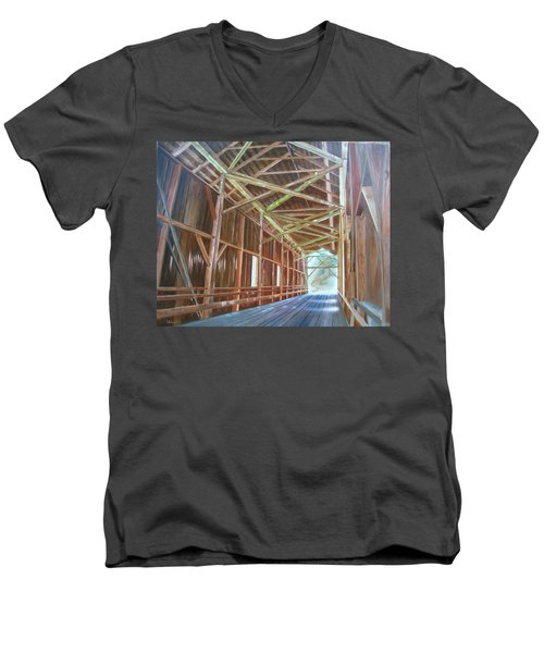Inside Felton Covered Bridge Men's V-Neck T-Shirt by LaVonne Hand