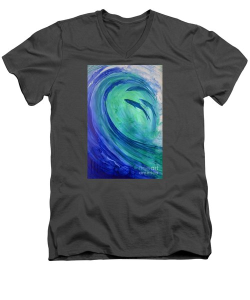 Men's V-Neck T-Shirt featuring the painting Inside The Curl by Joan Hartenstein