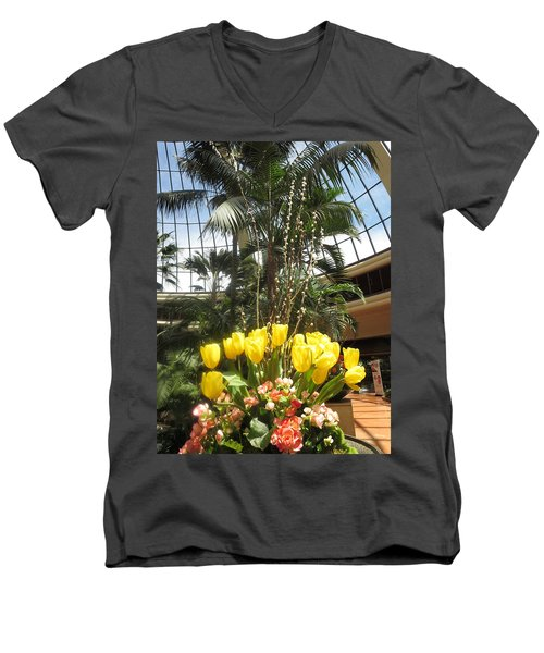 Men's V-Neck T-Shirt featuring the photograph Interior Decorations Butterfly Gardens Vegas Golden Yellow Tulip Flowers by Navin Joshi