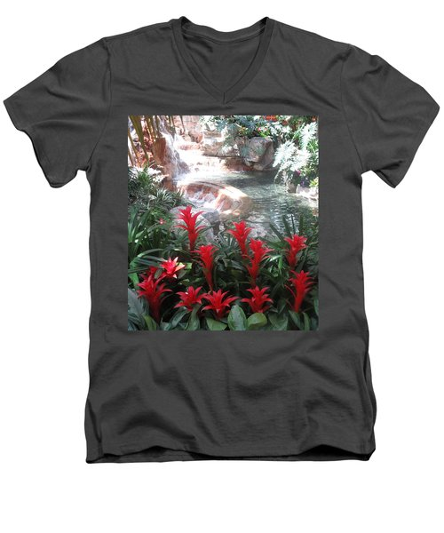 Men's V-Neck T-Shirt featuring the photograph Interior Decorations Water Fall Flowers Lights Shades by Navin Joshi