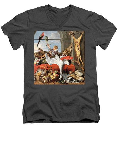 Interior Of An Office, Or Still Life With Game, Poultry And Fruit, C.1635 Oil On Canvas Men's V-Neck T-Shirt
