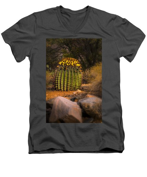 Men's V-Neck T-Shirt featuring the photograph Into The Prickly Barrel by Mark Myhaver