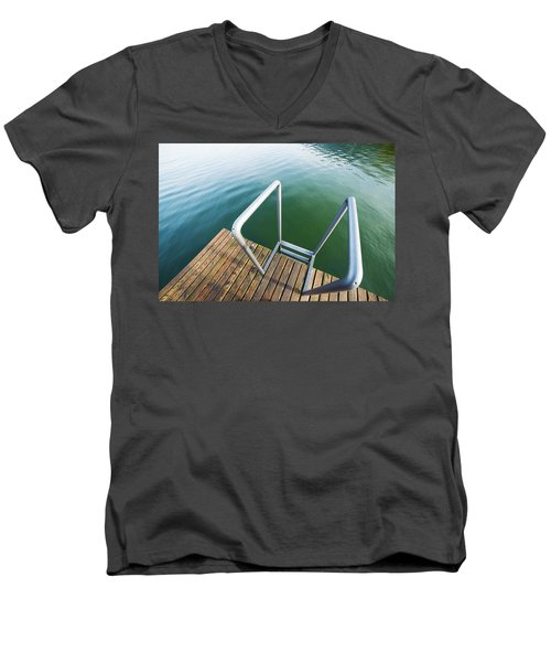 Men's V-Neck T-Shirt featuring the photograph Into The Water by Chevy Fleet
