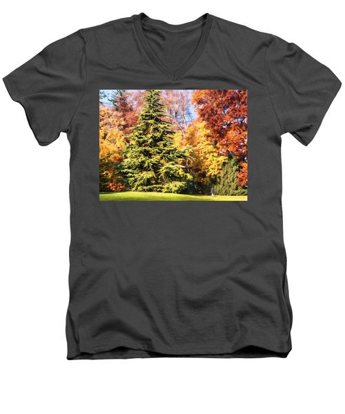 Men's V-Neck T-Shirt featuring the painting Into The Woods by Muhie Kanawati
