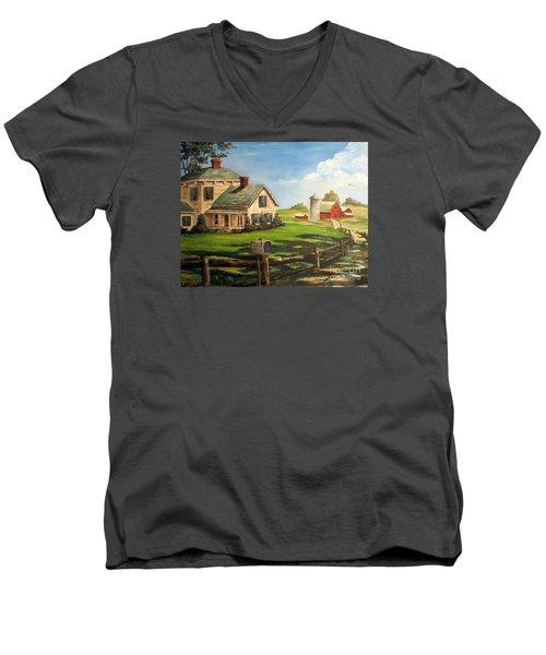 Iowa Farm Men's V-Neck T-Shirt by Lee Piper