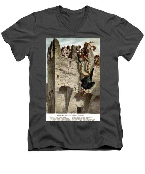 Men's V-Neck T-Shirt featuring the painting Ireland The Blarney Stone by Granger