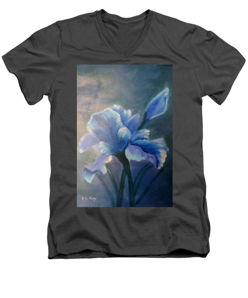 Iris Blue Men's V-Neck T-Shirt by Kay Novy