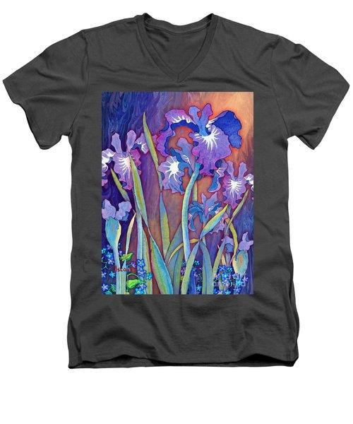 Men's V-Neck T-Shirt featuring the mixed media Iris Bouquet by Teresa Ascone