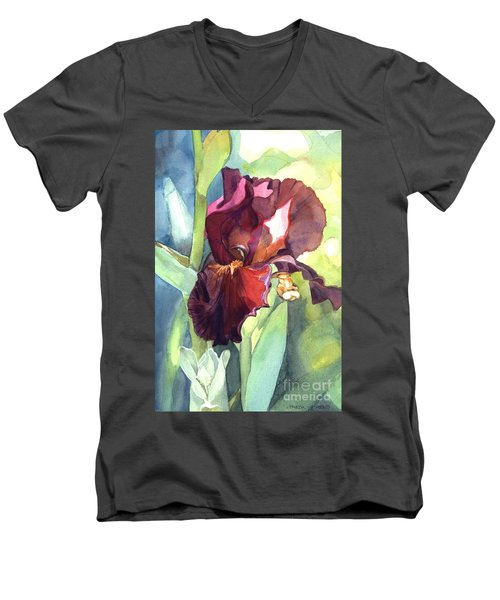 Men's V-Neck T-Shirt featuring the painting Iris In Red And Burgundy by Greta Corens