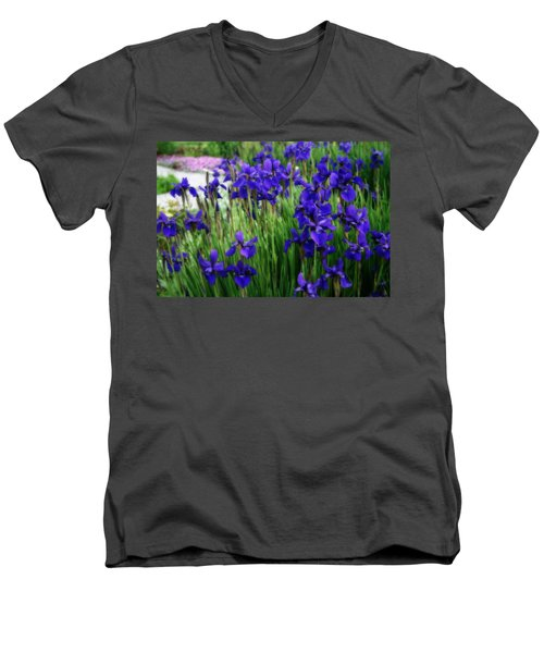 Men's V-Neck T-Shirt featuring the photograph Iris In The Field by Kay Novy