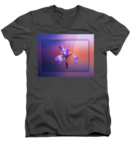 Iris Men's V-Neck T-Shirt by Lynn Bolt