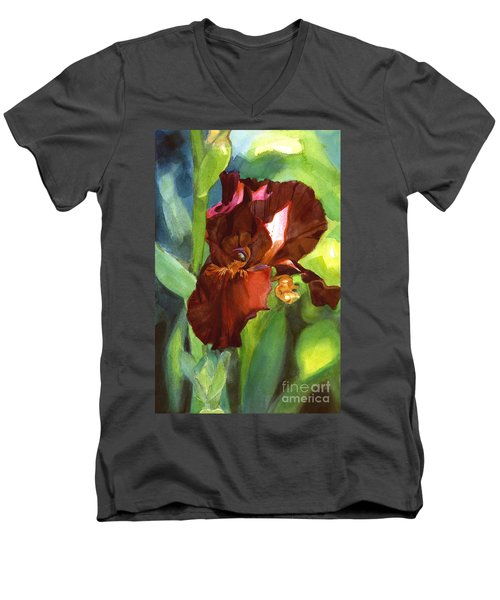Watercolor Of A Tall Bearded Iris In Sienna Red Men's V-Neck T-Shirt